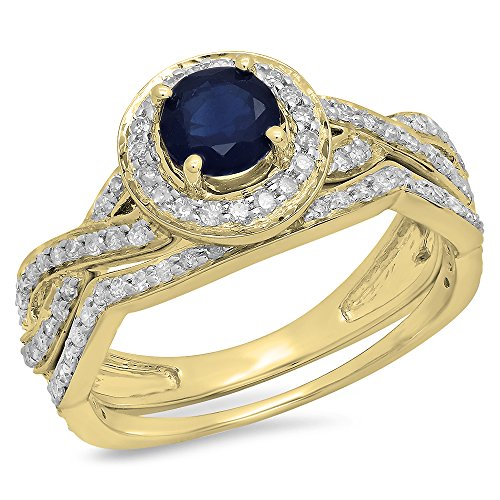 Dazzlingrock Collection 14K Round Cut Blue Sapphire & White Diamond Swirl Bridal Halo Engagement Ring Set, Yellow Gold, Size 8.5