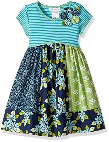 - Bonnie Jean Girls' Little' Knit to Cotton Poplin Print Dress, Blue Floral Pannels, 6X