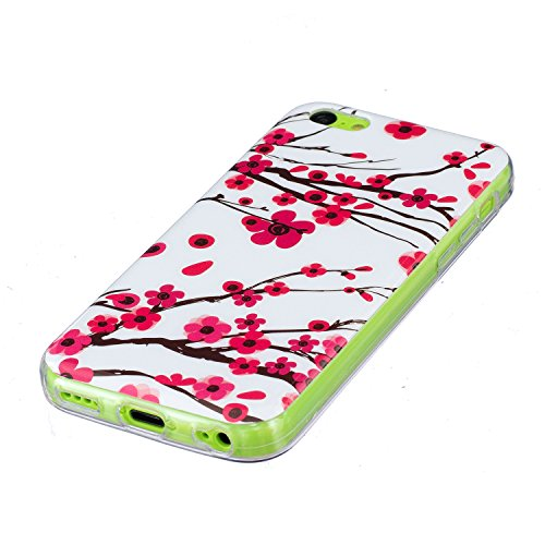 Custodia iPhone 5C , LH Fiore Plum Fluorescenza Silicone Morbido TPU Case Cover Custodie per Apple iPhone 5C