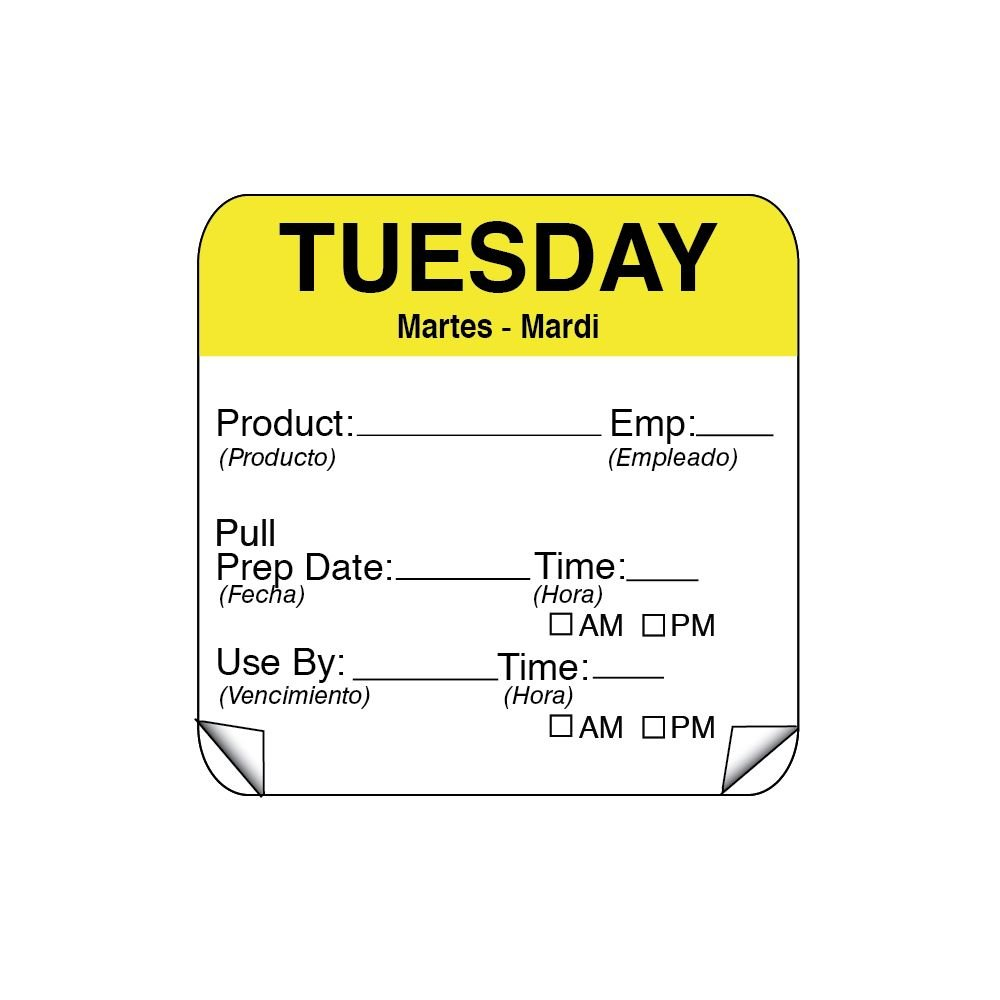DayMark 115151-2 ToughMark 2'' Tuesday Use By Day Square - 500/RL
