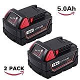 2 Packs 5000mAh Replacement for Milwaukee 18V Battery XC High Demand M18 48-11-1850 48-11-1820 48-11-1828 48-11-1815 Cordless Power Tools
