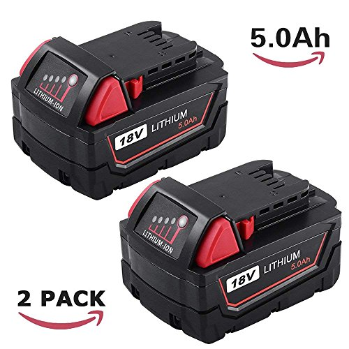 2 Packs 5000mAh Replacement for Milwaukee 18V Battery XC High Demand M18 48-11-1850 48-11-1820 48-11-1828 48-11-1815 Cordless Power Tools by ENERMALL