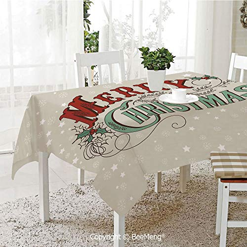 BeeMeng Large dustproof Waterproof Tablecloth,Family Table Decoration,Christmas,Xmas Stars and Snowflakes Backdrop with Stylized Retro Lettering,Eggshell Sea Green Ruby,70 x 104 inches -