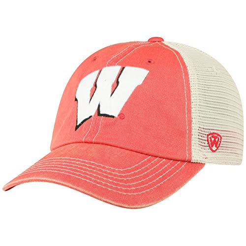 Top of the World NCAA Wisconsin Badgers Men's Vintage Mesh Adjustable Icon Hat, Red
