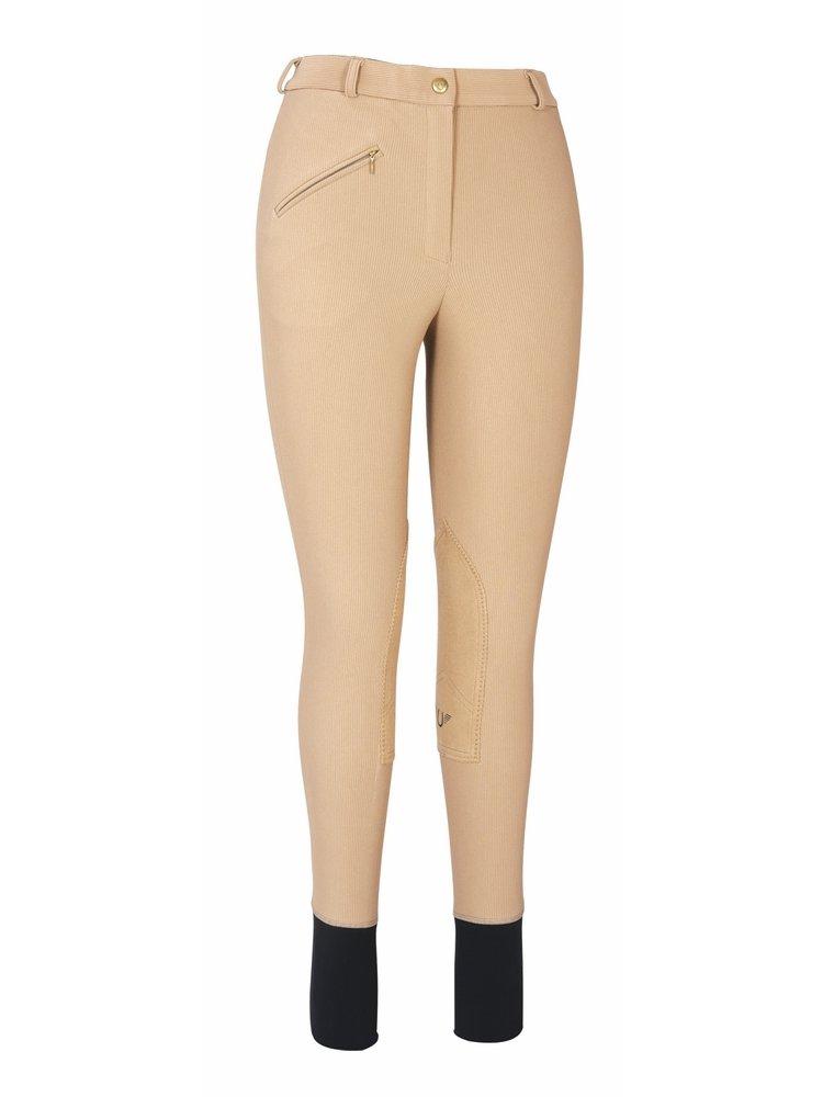 TuffRider Women's Ribb Knee Patch Breeches (Regular), Taupe, 24