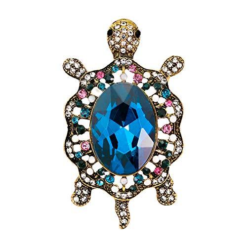 (ink2055 Fashion Brooch Pin for Women Girls,Enamel Cartoon Turtle Rhinestones Faux Gem Inlaid Brooch Pin Badge Scarf Clothes Decor Jewelry Gift AG172-A)