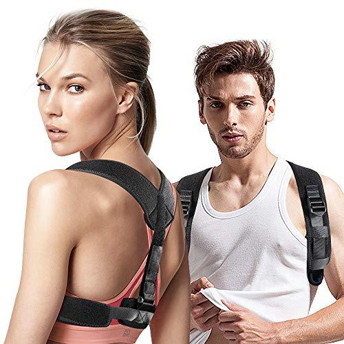 Voluex Upper Back Posture Corrector for Women & Men, Black Adjustable Support Brace Back Shoulder and Neck Pain Relief Posture Trainer(1 Pack)