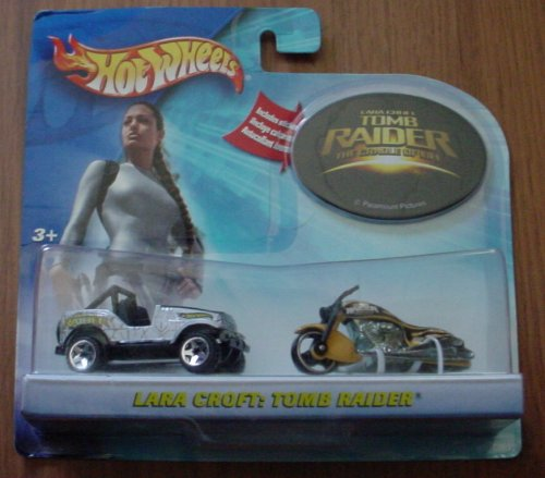 Hot Wheels Tomb Raider Lara Croft 2 Car Set Jeep Scorchin' Scooter