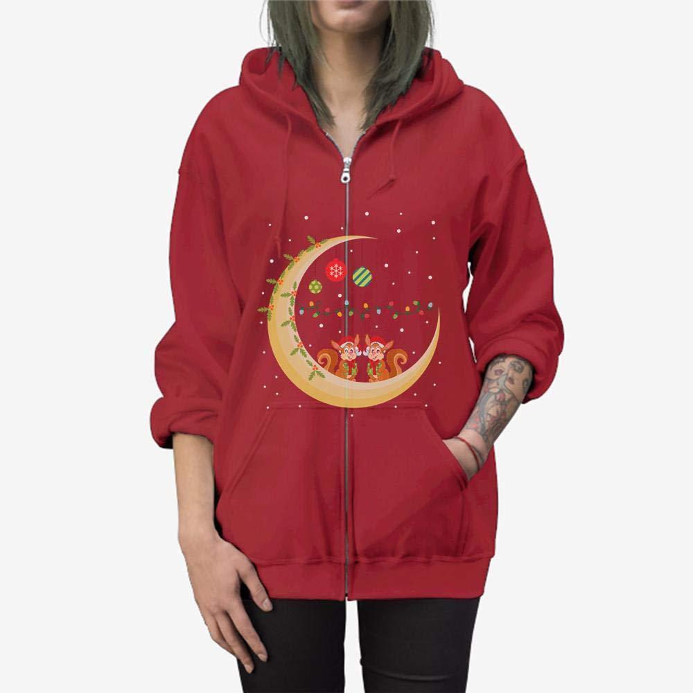 Funny Gift Birthday Awesome Tee Squirrel Christmas Moon Zip Hooded Sweatshirt
