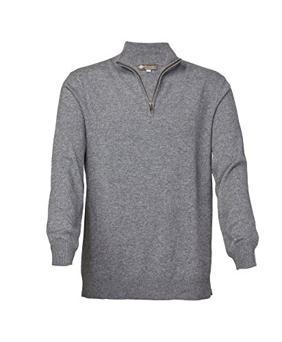 Men's Pure Cashmere Half Zip Sweater (Faded Pewter, Extra (Cashmere Half Zip Sweater)