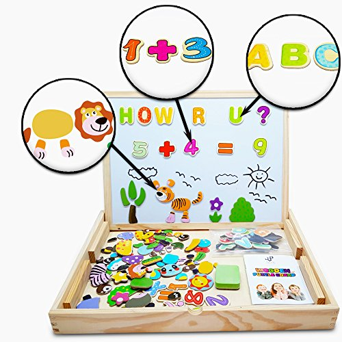 Animal Letter (Educational Toy XL Wood Magnetic Letters/Numbers/Animals Set (151 Pieces) - Learning Wooden Puzzle | Drawing Board With Writing Drawing Doodle side Dry Erase Board For Kids By JQP)