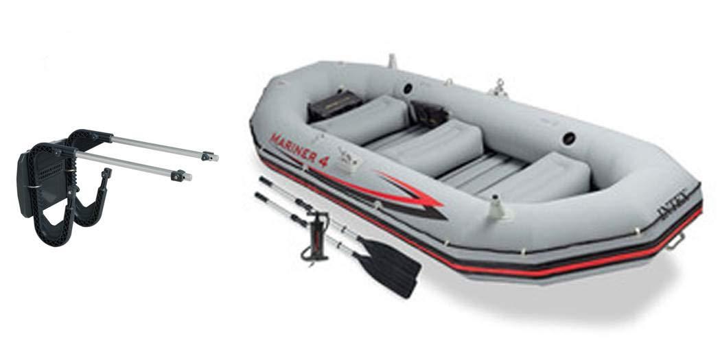 Intex Mariner 4 Inflatable Raft River/Lake Dinghy Boat Set & Motor Mount Kit by Intex