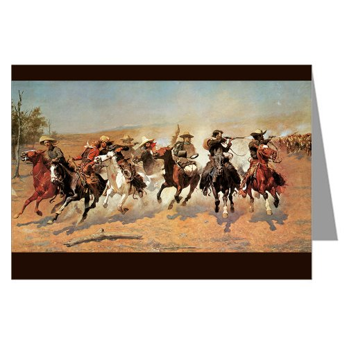Twelve Vintage Cowboy Art Notecards of Frederick Remington's 1889 painting A Dash for the - Epic You Thank Card