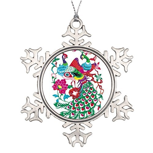 (hanjear59 Personalised Ornament Tree Decorated Design with Chinese Element-Peacock Paper-Cut Funny Christmas Snowflake Ornaments Tree Decor)