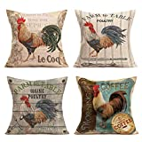 Royalours Pillow Covers Vintage Farmhouse Rooster with Quote Lettering Throw Pillow Covers Cotton