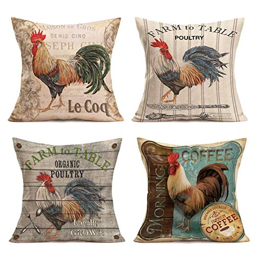 Vintage Fabric Pillows - Royalours Pillow Covers Vintage Farmhouse Rooster with Lettering Throw Pillow Covers Cotton Linen Poultry Chicken Decorative Pillowcase Cushion Cover Home Sofa 18