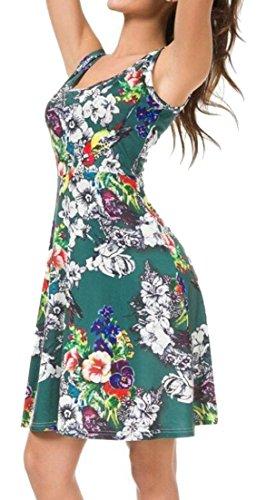 Alion Été Femme Tenue Décontractée Imprimer Robes Gilet Sans Manches Plissée 5
