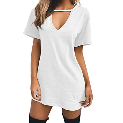 507eedb8a Image Unavailable. Image not available for. Color: Peigen Women Sexy Loose T -Shirt Dress, Womens Choker V Neck Long Tops T