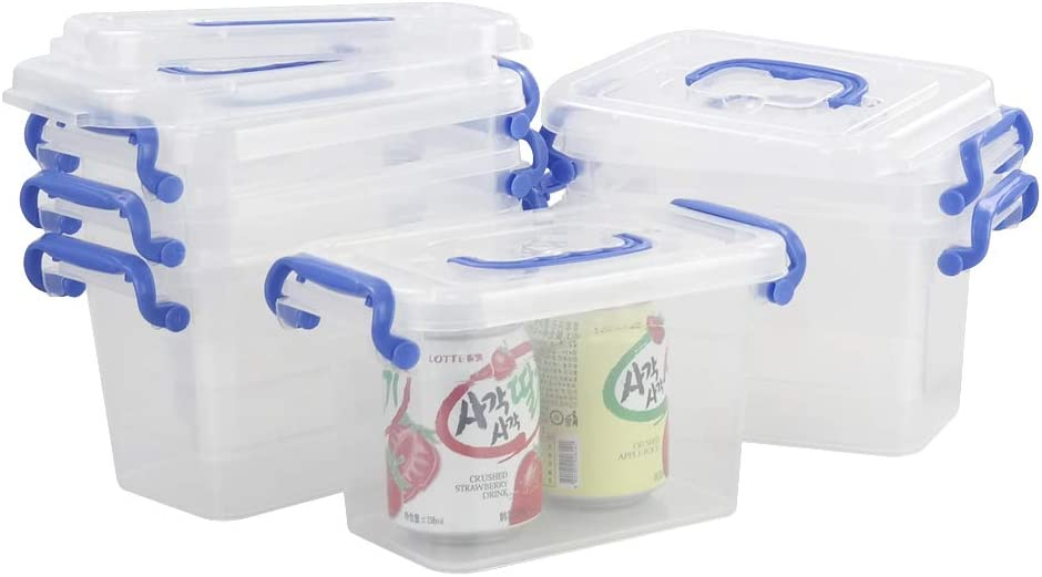 Minekkyes Small Clear Storage Containers, 1.8 L Plastic Storage Bins with Lids Set of 6