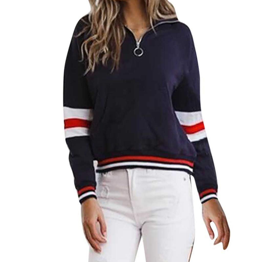 TWGONE 1/4 Zip Pullover Women with Pockets Long Sleeve Stripe Patchwork Top Sweatshirt 2018 new fashion