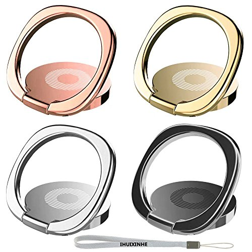 Phone Ring, IHUIXINHE 4PCS 360° Rotation Universal Cell Phone Finger Ring Grip Stand Ultra-thin Swivel Ring Buckle Phone Grip Kickstand for Universal Smart iPhone 11 Pro Max XR XS Max X 8 7 Plus Samsung Galaxy S10 S9 S8 Note 10