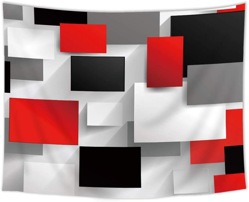 SVBright Black Grey Red Tapestry 51Hx59W Inch White Geometry Pattern 3D Digital Print Abstract Cool Rectangles Artwork Modern Art Wall Hanging Bedroom Living Room Dorm Decor Fabric