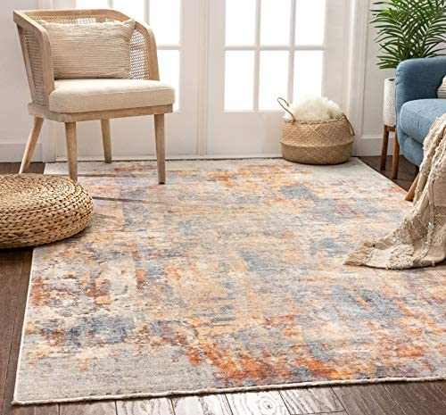 Well Woven Nelson Multi Blue Orange Vintage Abstract Area Rug 7×9 7 3 x 9 3