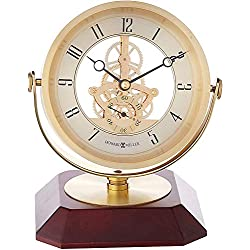 Howard Miller Soloman Table Clock 645-674 - Brass & Rosewood with Quartz Movement