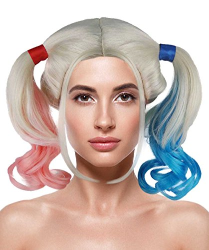 Margot Robbie Squad Costume Suicide (Female Super Villain Double Ponytail Wig, Pink/Blue Adult)