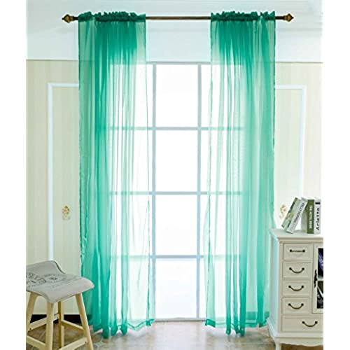 FlamingoP Back Tab And Rod Pocket Window Solid Sheer Curtains For Bedroom,  Turquoise, 40 X 63 Inch, (Set Of 2 Panels)
