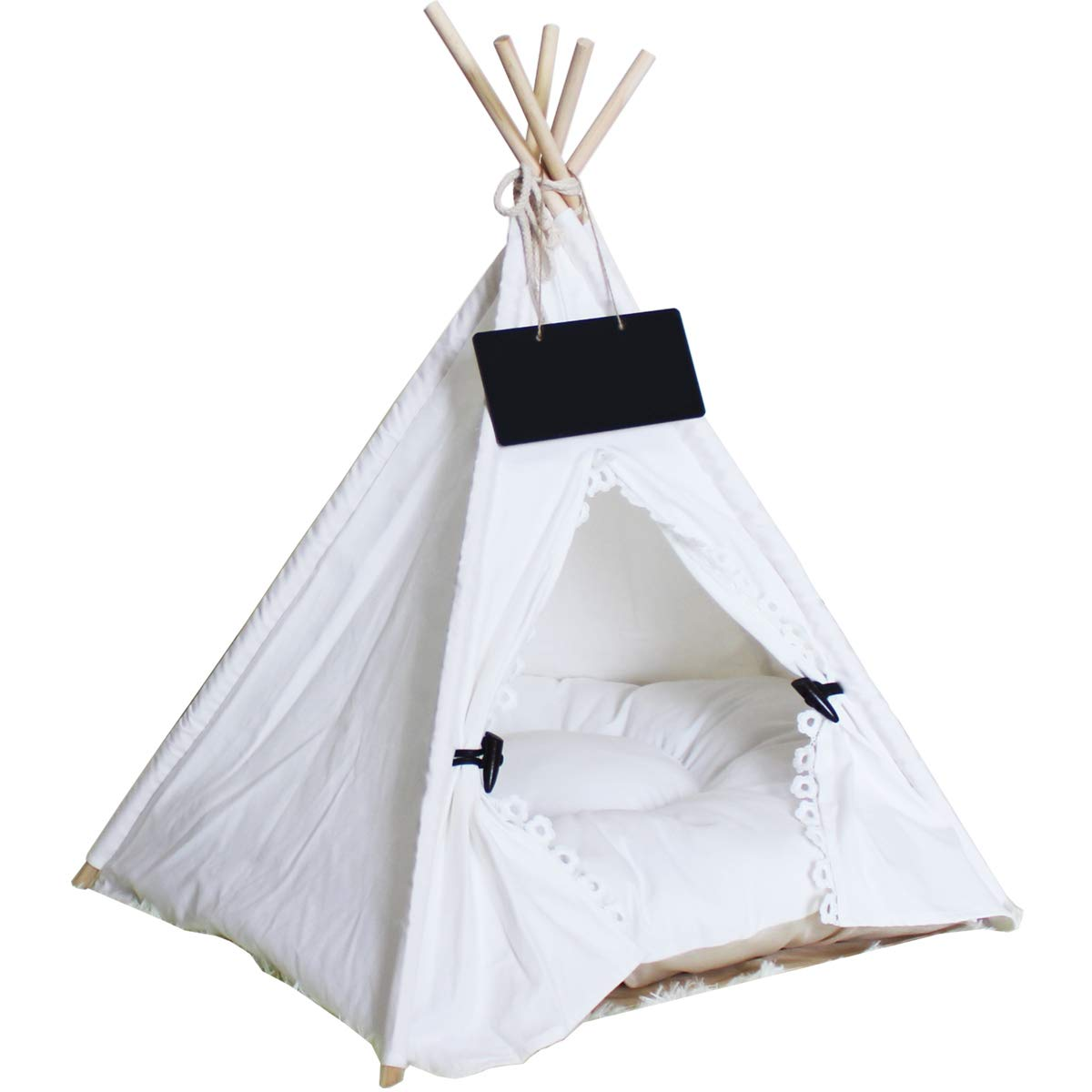 Penck Pet Teepee Dog & Cat Bed - Portable Dog Tents & Pet Houses with Thick Cushion & Blackboard, 24 Inch Tall, for Pets Up to 15lbs