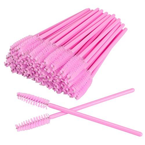 AKStore 100 PCS Disposable Eyelash Brushes Mascara Wands Eye Lash Eyebrow Applicator Cosmetic Makeup Brush Tool Kits (Pink)