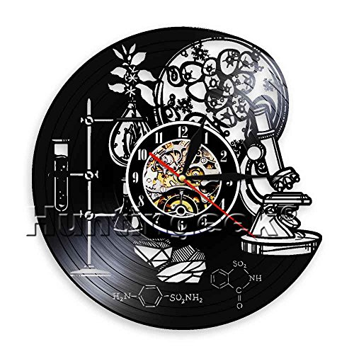Biology Chemistry Science Circle Vinyl Wall Clock Oxygen Molecule Chemical Formula Kid Room Nursery Decorative Art Clock (Without LED) by The Geeky Days