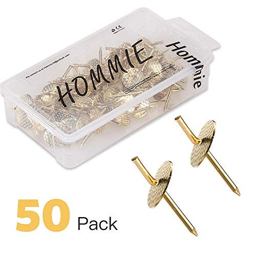 Hommie 50pcs Assorted One Step Hangers Iron Alloy Nail Hooks 20lbs Photo Picture Frame Hangers Professional Plaster Picture Hanging Kit on Wooden/Drywall Hanging Hardware for Clock,Mirror,Jewelry (Picture Frames Hangers)