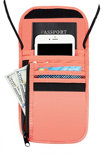 A pink neck wallet with a zippered compartment in front.