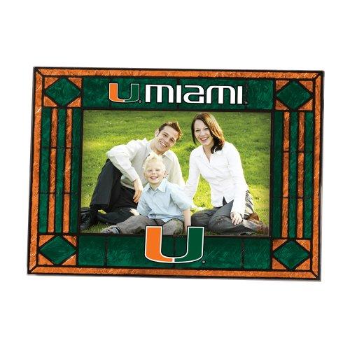 NCAA Miami Art Glass Horizontal Frame (Art Glass Painted Hand Ncaa)