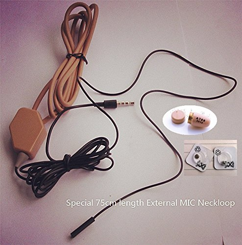 EDIMAEG Covert Wireless spy Earpiece with Loopset Neckloop 75 cm External MIC GSM Earphone Earbud (Full Sets with Skin -