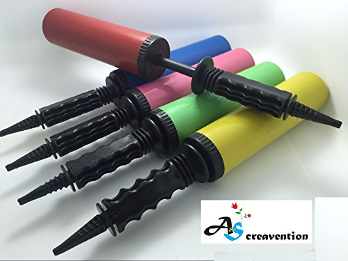A&S Creavention Portable Party Handy Balloon Air Barrel Easy Grip Pump Inflator - Random Mix 5PCS (Portable Helium Tank)