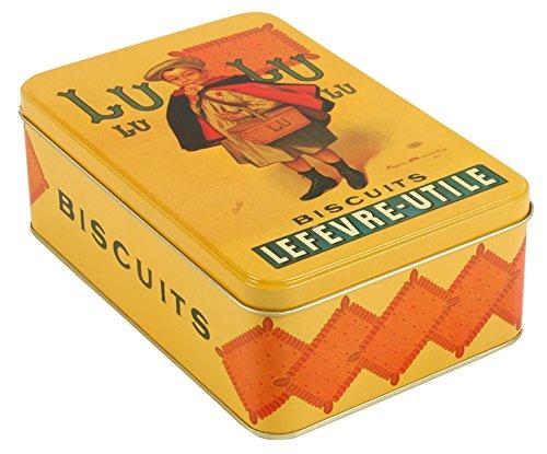 French Classics - Scatola di metallo, motivo con biscotti LU, 18 x 12 x 7 cm Kom Amsterdam 7615