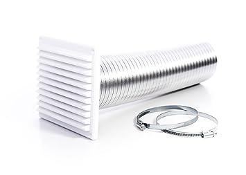 Rytons construcción productos dvkit100wh directa Kit de ventilación para estufas con externo rejilla de rejilla, color blanco: Amazon.es: Bricolaje y ...