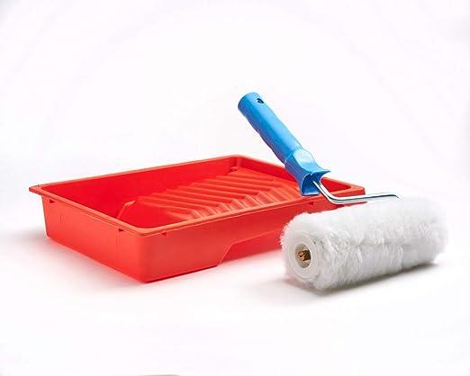 para pintar paredes y techos rojo//blanco//azul KIBROS IB/_L104 kit antigoteo Bandeja de pintura plana + rodillo de pelo largo de poli/éster de 180 mm de ancho y 8 cm de di/ámetro