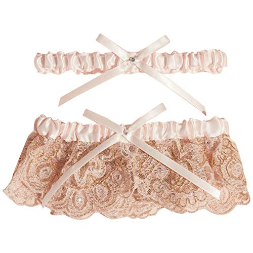 (Blush Scalloped Lace and Satin Bow Garter Set Style M80068, Rose Gold)