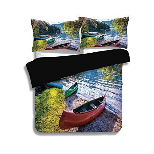 - ZOMOY Black Duvet Cover Set Queen Size,Landscape,Bohinj Lake with Boats Canoes Triglav National Park Julian Alps Slovenia Print,Multicolor,Decorative 3 Pcs Bedding Set by 2 Pillow Shams