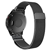 Yooside for Garmin Fenix 5 /Forerunner 935/Approach S60 22mm Magnetic adsorption Replacement Watch Band Belt Milanese Loop Stainless Belt with Quick Release (black)