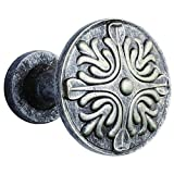 EleCharm 1Pair French Retro Relief Metal Medallion Curtain Wall Hooks Clothes Hanger (Archaize Silver)