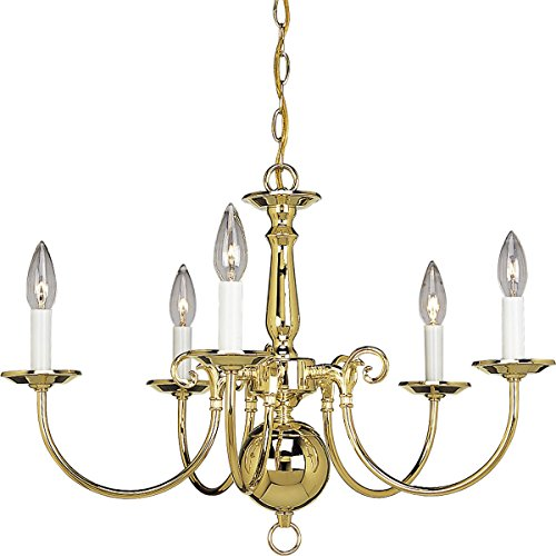 (Progress Lighting P4346-10 5-Light Americana Chandelier with Delicate Arms and Decorative Center Column, Polished Brass)