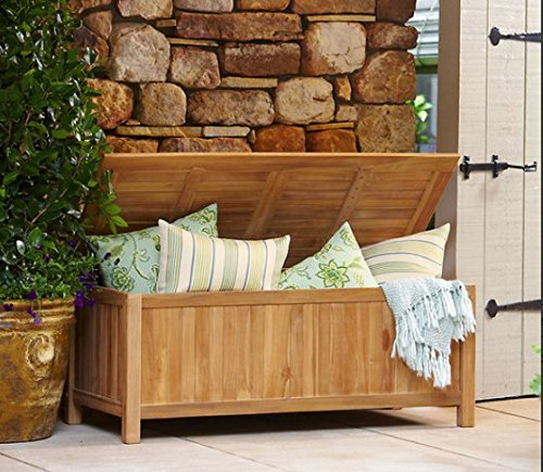 Storage Bench Summerton Collection Teak Wood Material Durable, Golden Brown Finish by Storage