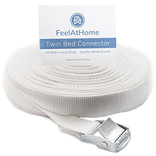 FeelAtHome Strap for Twin Beds - Twin to King Bed Strap - Twin Bed Connector for Converting Twin to King or Twin XL to King - 33ft Long Bed Connector Strap with Metal Buckle - Twin Bed Joiner (White) (Two Twins To Make A King Bed)