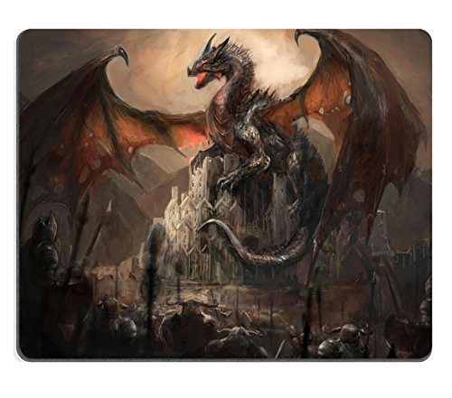 MSD Mouse Pad Unique Custom Printed Mousepad Dragon on Castle War Stitched Edge Non-Slip Rubber 9.8x7.9-Inch Custom Printed Mouse Pad