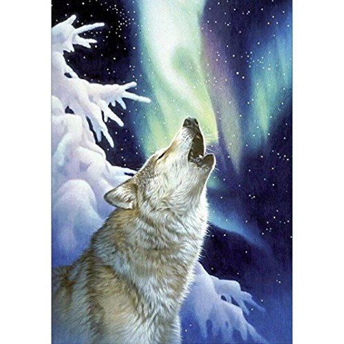 5D Diamond Picture, Vmree Morden DIY Rhinestone Embroidery Painting Crystals Pasted Handcraft Cross Stitch Handiwork Kits Visual Arts for Home Decor (Arctic Wolf, 40x30 cm) (Arctic Rests Wolf)